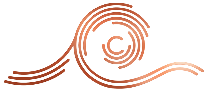 Cedar River Cellars Logo is a copper colored concentric ring like a cedar tree with a prominent 'C' in the center and a wave like tailing of the most outter ring.