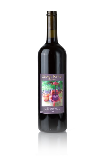 A bottle shot of 2015 Cedar River Cellars Confluence  Cab Sauv/Merlot/Syrah