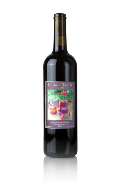 A bottle shot of 2015 Cedar River Cellars Watershed  Merlot